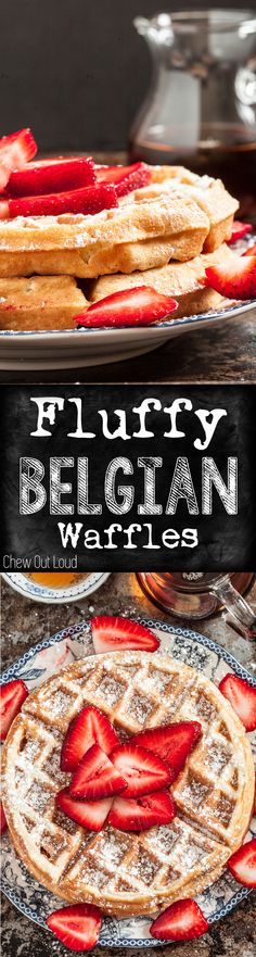 Fluffy Belgian Waffles - It's so good, you won't need anything but some fresh berries on top. Belgian Waffle Recipes, Easy Belgian Waffle Recipe, Easy Waffle Recipe, Kitchenaid Waffle Recipe, Waffle Iron Recipes, Breakfast Dishes, Sunday Breakfast, Breakfast Waffles, Pancakes And Waffles