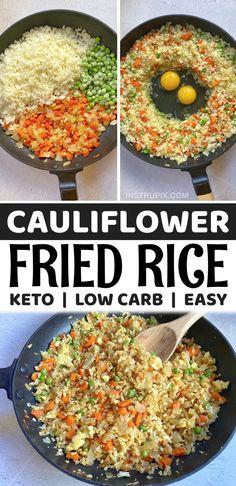 If you're strugging to find easy keto dinner recipes that aren't loaded with a pound of cheese, this healthy low carb cauliflower fried rice is amazing! So quick and easy to make in just one pan with frozen cauliflower rice. It's the best clean eating side dish or even meal. It's really filling served vegetarian just on its own, but is also great with chicken, steak or shrimp. I actually like it better than take out! Plus it's keto friendly and perfect for weight loss. So yummy! Side Recipes, Low Carb Recipes, Cooking Recipes, Healthy Recipes, Keto Veggie Recipes, Easy Rice Recipes, Vegetarian Recipes Dinner, Keto Dinner, Easy Healthy Dinners