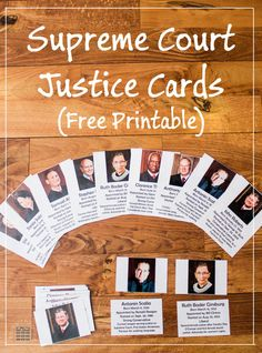 Free, Printable, Montessori-Inspired United States Supreme Court Justice Cards - Features All 9 Judges -- Will be updated to reflect new justices via Teaching History, Teaching Kids, Teaching Government, Judicial Branch, Supreme Court Cases, Social Studies Classroom, History For Kids, Supreme Court Justices, Free Printables