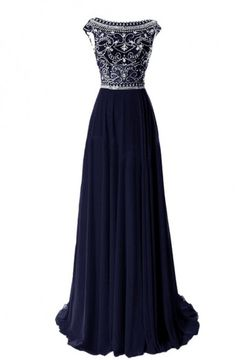 Hot Navy A-line Chiffon Bateau Neck Long Prom Dress With Beaded Cap Sleeves