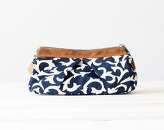 Estia case - Blue floral and L.brown  leather von Handmade Bags, makeup bags, wallets and clutches  by Milloo auf DaWanda.com