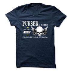 PURSER -Rule Team T Shirts, Hoodies Sweatshirts. Check price ==► http://store.customtshirts.xyz/go.php?u=https://www.sunfrog.com/Valentines/PURSER-Rule-Team.html?41382