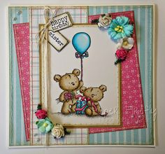 LOTV - Happy Bears Stamp Set with Pastel Dreams papers and Sentiment Tag and Family Sentiment Tag by Kat Waskett