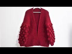 How to Knit - Cute Cardigan (Raspbery Knit Stitch Pattern) Knitting Blogs, Easy Knitting, Knitting Designs, Knitting Patterns, Crochet Cardigan Pattern, Vest Pattern, Knit Crochet, Diy Kleidung, Cute Cardigans