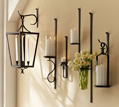 Wrought iron sconces wall decor wrought iron candle sconce candle sconces w Rustic Wall Sconces, Candle Wall Sconces, Wall Sconce Lighting, Wall Lamps, Bathroom Lighting, Wall Mounted Vase, Wall Mounted Candle Holders, Contemporary Candle Holders, Contemporary Candles