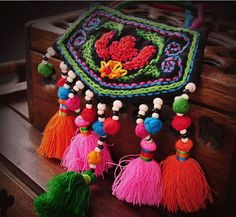 Ethnic Fabric Colorful Handmade Embroidery Necklace Flower Beads Tassel Embroidered Sweater Chain Necklace Jewelry Free Shipping(China (Mainland))