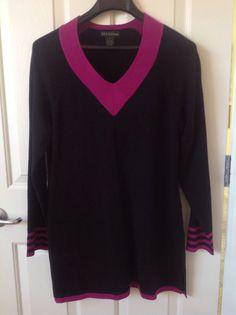 Design 365 Size Medium 100% Acrylic Black & Hot Pink Tunic Sweater 33 Inches New #PINK #Tunic
