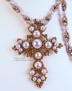 Skill Level: Any Technique: Bead Weaving Intricate and elaborate, this pearl cross evokes an historical feel. This item is a digital download.