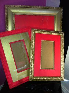 Vintage Gold and Pink Frames (Set of 3). $40.00, via Etsy.