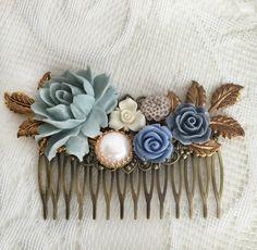 Blue Wedding Comb Cornflower Blue Gray Bridal Hair by Jewelsalem