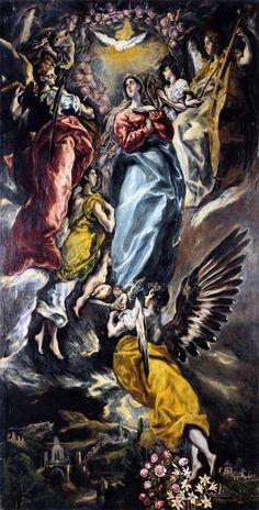 A Assunção da Virgem Maria  (1608-13)  El Greco -  Museu de Santa Cruz, Toledo, Espanha   O retábulo da Capela Oballe é dominado pela Assunção, por vezes considerada como a Imaculada Conceição.  Um anjo aparece para elevar a Virgem e levá-la para o Espírito Santo, que aparece na parte superior; no entanto, encontramos símbolos marianos - rosas e lírios que simbolizam o amor e a pureza, respectivamente - enquanto Maria coloca os braços na postura típica da Imaculada.   A figura de Maria…
