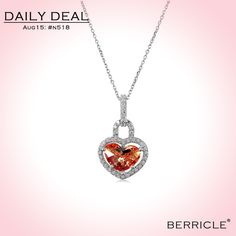 * Daily Deal * Today: $16.50 (Regular: $32.99)  50% OFF, Aug 15, 2013 only  Sterling Silver Champagne Heart Cubic Zirconia CZ Pendant Necklace