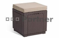 Záhradný ratanový taburet CUBE (hnedý) ZADARMO PODUŠKA | Záhradný nábytok, drevený a kovový nábytok, stoličky, stoly