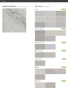 Imperial Danby. Marble Countertops. Countertops. MSI Stone. Behr. Sherwin Williams. Ralph Lauren Paint. PPG Pittsburgh. Valspar Paint. Olympic. PPG Paints.  Click the gray Visit button to see the matching paint names.