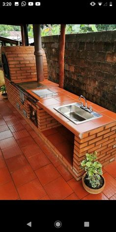 Rustic Outdoor Kitchens, Outdoor Kitchen Plans, Outdoor Stove, Outdoor Kitchen Design, Backyard Patio Designs, Backyard Landscaping, Brick Bbq, Outdoor Fireplace Designs, Grill Design