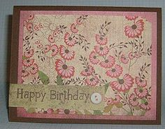 Pink flowers Birthday card  כרטיס ברכה ליום הולדת