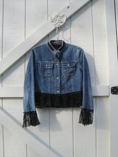 Cropped jeans jacket eco upcycled black lace trim by ShabyVintage, $43.90
