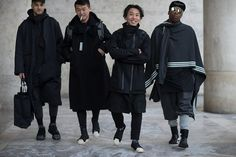 Street stye shots taken outside of Y-3's FW17 show at Paris Fashion Week. As you'd expect, there's lots of very fashionable ninjas to be seen.
