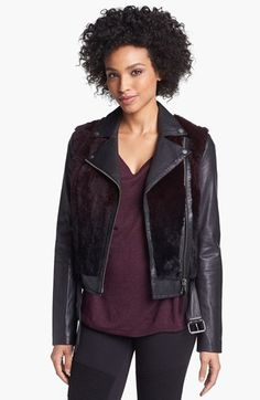 Mackage 'Tamika' Leather & Genuine Rabbit Fur Moto Jacket available at #Nordstrom