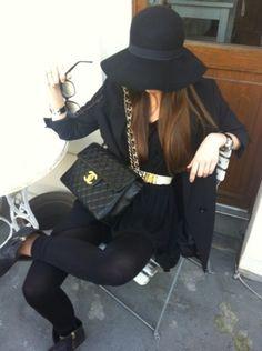 mafia style Chanel Black, Coco Chanel, Chanel Hat, Stiles, Love Fashion, a08ae32a38