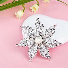 Silver Plated Full Rhinestone Flower Pearl White Brooch - USD $ 2.39
