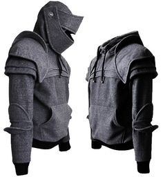 This is cool! Dark Grey Duncan Armored Knight Hoodie (100% Handmade) Made To Order
