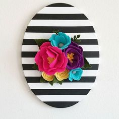 Perfect for a nursery or gallery wall! This stunning hand painted oval canvas is definitely a statement piece to have in your home. Black and white stripe wall hanging. Felt Crafts, Diy And Crafts, Arts And Crafts, Felt Flowers, Paper Flowers, Black Decor, White Decor, Diy Wall Art, Diy Home Decor