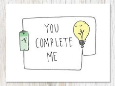 Much like a closed electrical circuit, you complete me! This card makes a great Valentine's Day card, anniversary card, card to show appreciation for your perfectly awesome lab partner, or just to show some love. Add a custom note Diy Presents For Boyfriend, Homemade Gifts For Boyfriend, Boyfriend Gifts, You Complete Me Quotes, Cheesy Puns, Valentines Puns, Gifts For Programmers, Love Scrapbook, Mugs