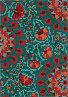 A beautifully stylized floral pattern winds its way across the rich teal background of this delightful rug. A bevy of blossoms, from tiny bells to big bold petals, adds colorful bursts of crimson, apricot and turquoise. The charming design is highlighted by a gorgeously textured cut and loop pile.
