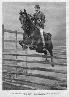 original 1897 National Horse Show hunter jumper print.