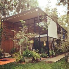 "THE WESTSIDE | PACIFIC PALISADES: Case Study House #8: ""The Eames House"", 203 Chautauqua Boulevard, Pacific Palisades, CA 90272, designed by Charles & Ray Eames, completed in 1949."