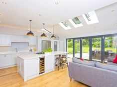 Luxlite™ Fixed Pitched Roof Windows - Roof Maker Kitchen Extension With Roof Lantern, Kitchen Extension Glass, Kitchen Extension Velux Windows, House Extension Plans, House Extension Design, Extension Ideas, Open Plan Kitchen Dining Living, Living Room Kitchen, Bungalow Haus Design
