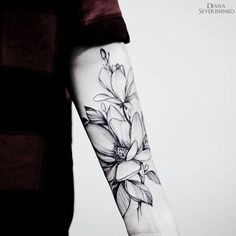 magnolia tattoo on arm #armtattoosmen