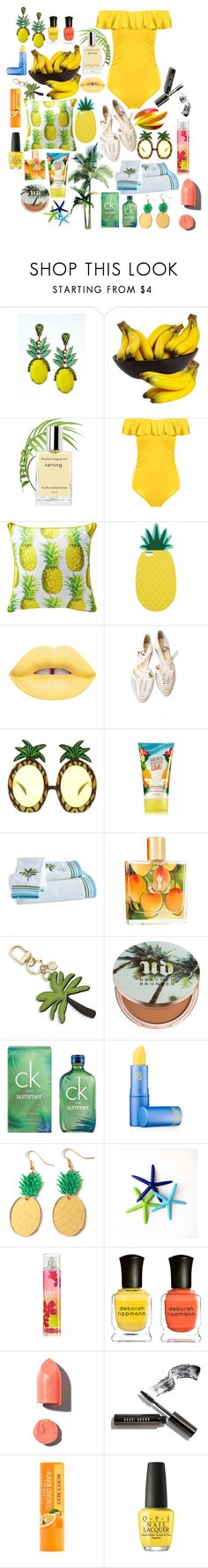 """Tropical"" by yulemoon ❤ liked on Polyvore featuring Banana Republic, Miss Selfridge, Lime Crime, ASOS, Malie Organics, Tory Burch, Urban Decay, Calvin Klein, Lipstick Queen and Finest Imaginary"