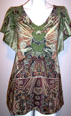 b722bfd8c97a45 Oneworld Top S Green Paisley Butterfly Stretch Knit Sublimation Shirt Size  Small  OneWorld  KnitTop