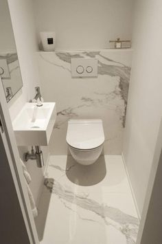 Cloakroom toilet - A light, bright colour scheme is perfect for creating the illusion of space in a small bathroom or cloakroom Opt for white and grey marble tiles to add light and give the room a stylish appearance Small Downstairs Toilet, Small Toilet Room, Downstairs Bathroom, Guest Toilet, Modern Sink, Modern Bathroom, Bathroom Marble, Modern Toilet, Bathroom Grey