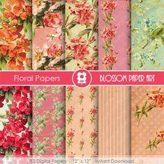 Digital Paper - Pink Red Floral Digital Paper Pack - INSTANT DOWNLOAD - Decoupage - Digital Paper - Printable - 1641