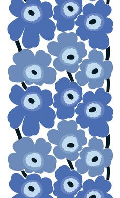 Unikko fabric by Maija Islola. Produced by Marimekko. Fabric designed by Maija Isola in 1964 to teach Armi Ratia, the founder of Marimekko, a lesson after she had announced in public that no floral fabrics would be produced by Marimekko. Design Textile, Fabric Design, Pattern Design, Motifs Textiles, Textile Patterns, Floral Patterns, Art Patterns, Marimekko Fabric, Marimekko Wallpaper