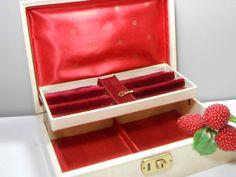 Vintage Jewelry Box with Key White Red Satin Velver