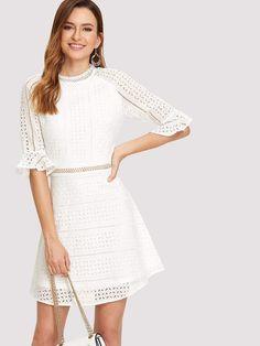 48789fa4cf7da Guipure Lace Trim Embroidered Eyelet Dress. Color  White Style  Elegant ...