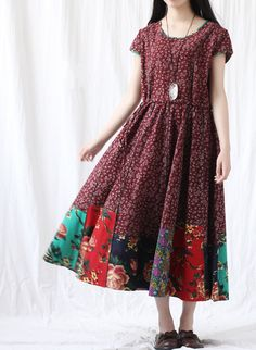 Fabrics; Cotton, linen Color; Dark red, green  Size M; Shoulder 39cm / 15  Bust 100cm / 39  Waist 96cm / 37.4  Length 118cm / 46   L; Shoulder 40cm /