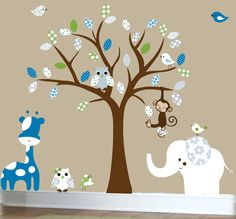 Jungle wall decal - Jungle friends animal set - girls patterned vinyl wall decals. $129.00, via Etsy.