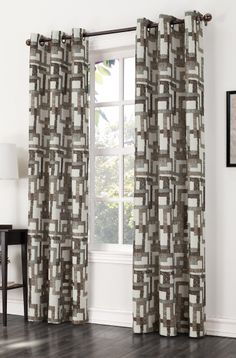 The Kaveri Grommet Curtain features a modern multi color block print on a woven fabric with oil rubbed bronze grommets. Home Curtains, Grommet Curtains, Curtain Fabric, Panel Curtains, Window Coverings, Window Treatments, Curtain Styles