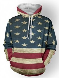 c2828ac87cac9b Distressed American Flag Color Panel Pullover Hoodie American Flag Colors