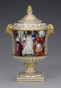 The Abergavenny Vase: A highly important Chamberlain vase and cover circa 1814 Of 'Regent' shape with ram's head handles picked out in gold, painted by Humphrey Chamberlain after Boydell with a scene from Act 3, Scene I of William Shakespeare's Henry VIII, the reverse with the arms of The Marquis of Abergavenny, reserved on a salmon pink This vase forms part of what must be one of the most important orders ever taken by the Chamberlain factory. The Dictionary of Worcester . Humphrey…