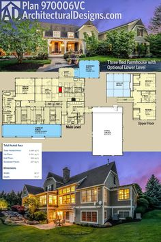 Architectural Designs 3 Bed Farmhouse Plan 970006VC has a great front porch, incredible views to the back and a 3-car garage. The home gives you over 2,600 square feet of heated living space. Ready when you are. Where do YOU want to build?