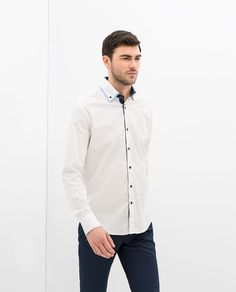 ZARA - MAN - CONTRASTING DOUBLE COLLAR SHIRT