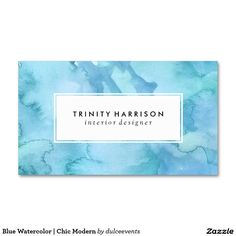 Blue Watercolor | Chic Modern Double-Sided Standard Business Cards (Pack Of 100)