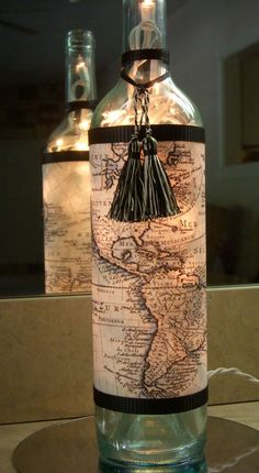 Recycled Wine Bottle Lamp with Map World Travel #BottleLamp