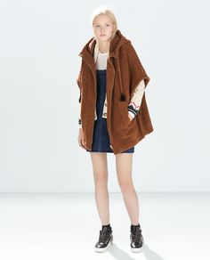 Image 1 of HOODED PONCHO CAPE from Zara